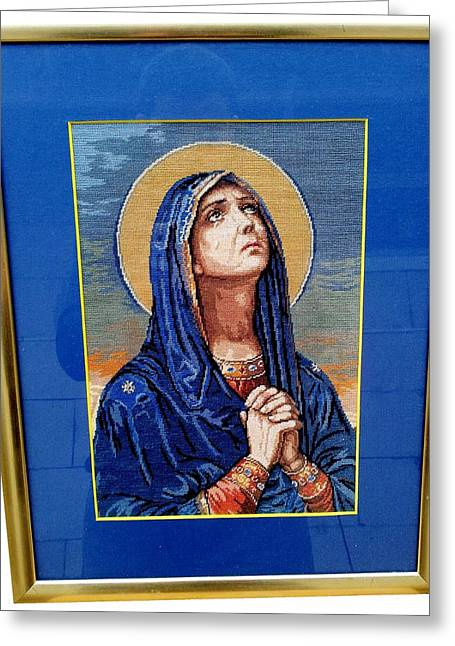Christian Tapestries - Textiles Greeting Cards - Pray of Virgin Mary Greeting Card by Genoveva P