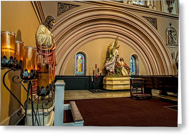 Tulane Greeting Cards - Prayer candles at St. Joseph Church - New Orleans Greeting Card by Andy Crawford