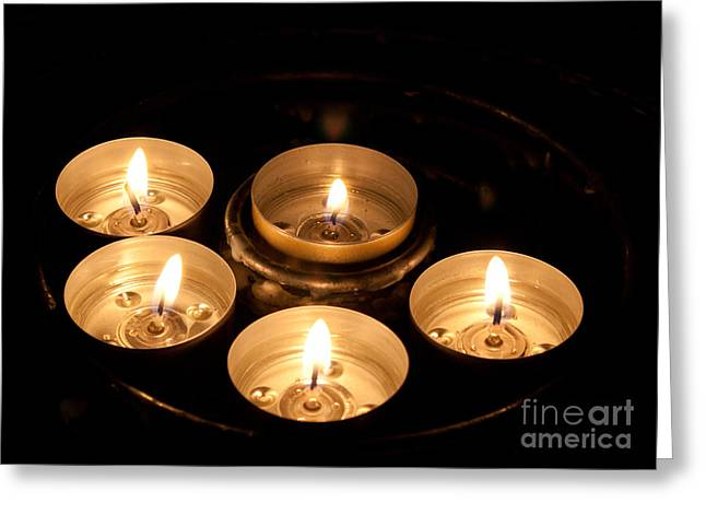John Daly Greeting Cards - Prayer Candles in Notre Dame Greeting Card by John Daly
