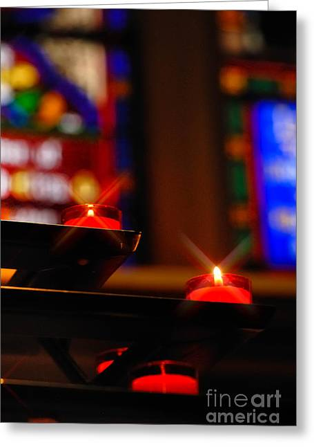 Flame Greeting Cards - Prayer Candles Trinity Cathedral Pittsburgh Greeting Card by Amy Cicconi