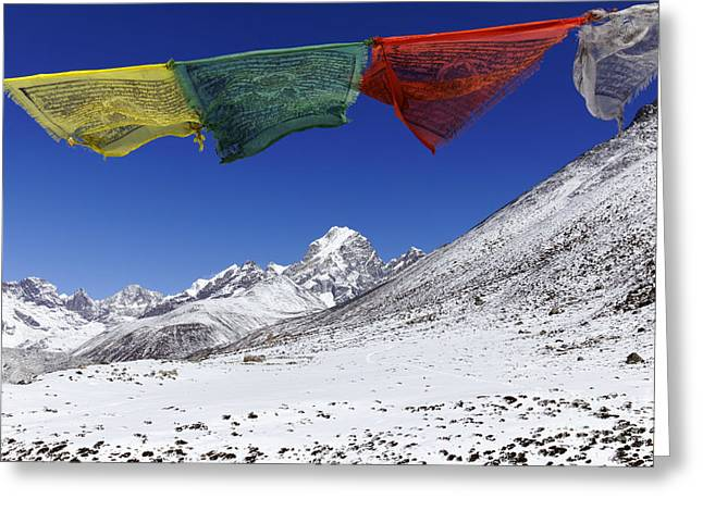 Buddhist Region Greeting Cards - Prayer flags and snowy mountains in the Everest Region of Nepal Greeting Card by Robert Preston