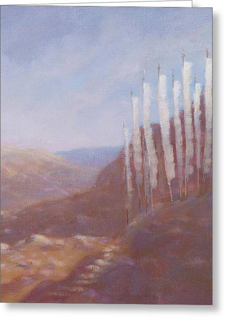 Prayer Flags Greeting Cards - Prayer Flags, Bhutan, 2012 Acrylic On Canvas Greeting Card by Lincoln Seligman