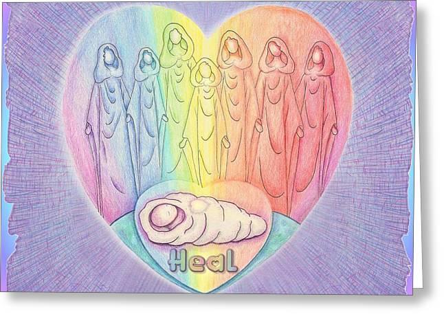 Chakra Rainbow Drawings Greeting Cards - Prayer for Healing Greeting Card by Melinda DeMent