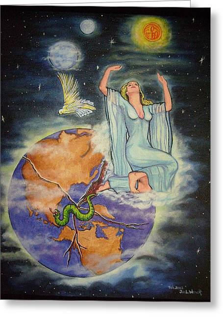Planet Map Paintings Greeting Cards - Prayer for the Planet Greeting Card by Jan Wendt