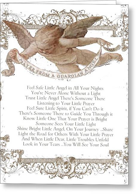 Shabbychic Greeting Cards - Prayer From a Guardian Angel - Prayer - Baby Angel Greeting Card by KM Russell
