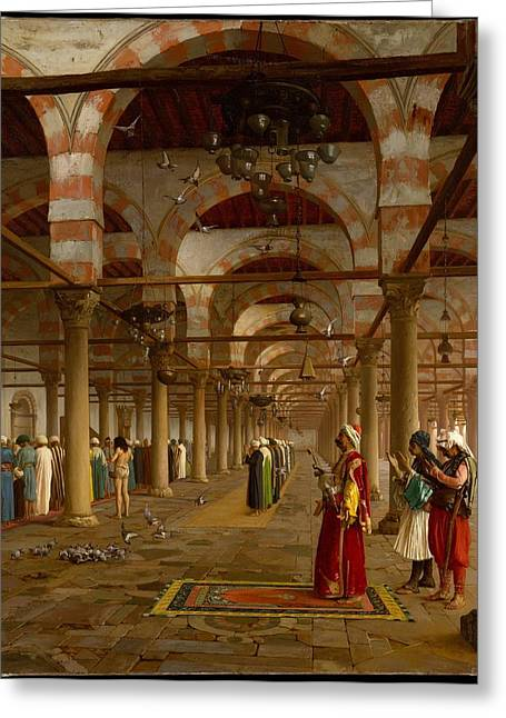 French Painter Greeting Cards - Prayer in the Mosque Greeting Card by Jean-Leon Gerome