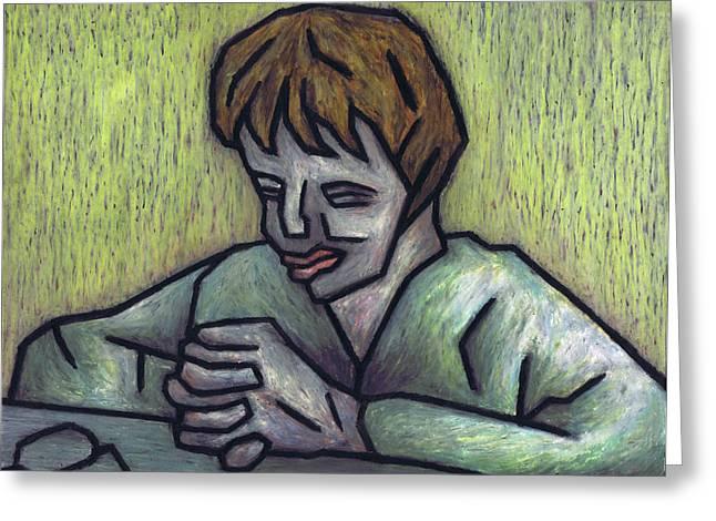 Cubism Prints Pastels Greeting Cards - Prayer Greeting Card by Kamil Swiatek