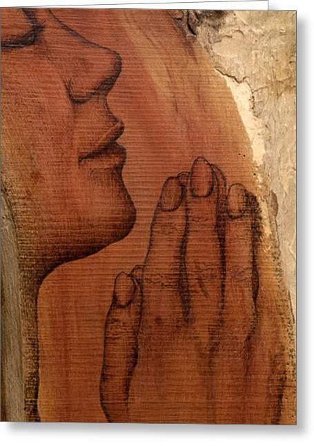Praying Hands Mixed Media Greeting Cards - Prayer Greeting Card by Nozomi Takeyabu