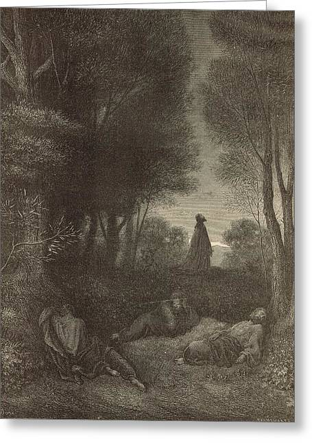 Prayer Of Jesus In The Garden Of Olives Greeting Card by Antique Engravings