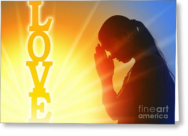 Praying Hands Greeting Cards - Prayer of Love Greeting Card by Tim Gainey