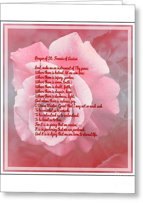 St Francis Peace Prayer Greeting Cards - Prayer of St. Francis and Pink Rose 2 Greeting Card by Barbara Griffin