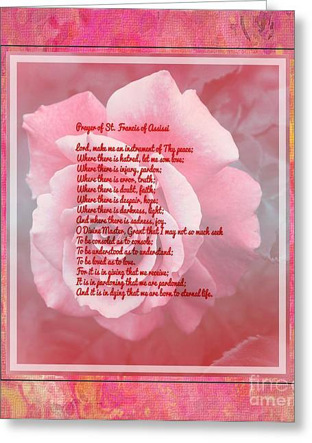 St Francis Peace Prayer Greeting Cards - Prayer of St. Francis and Pink Rose Greeting Card by Barbara Griffin