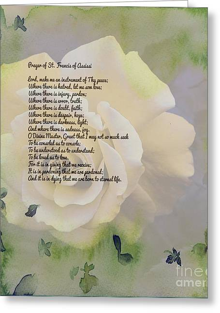 Understand Greeting Cards - Prayer of St. Francis and Yellow Rose Greeting Card by Barbara Griffin