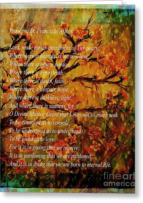 Understand Greeting Cards - Prayer of St. Francis of Assisi  and Cherry Blossoms Greeting Card by Barbara Griffin
