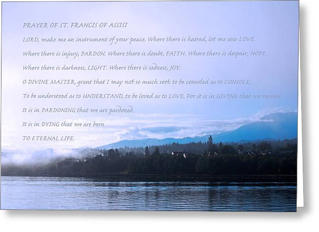 Prayer Of St. Francis Of Assisi Greeting Card by Connie Fox
