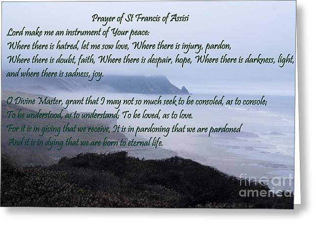 Pacific Ocean Prints Greeting Cards - Prayer of St Francis of Assisi Greeting Card by Sharon Elliott