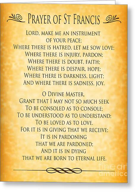 Prayer Of St Francis - Pope Francis Prayer - Gold Parchment Greeting Card by Ginny Gaura