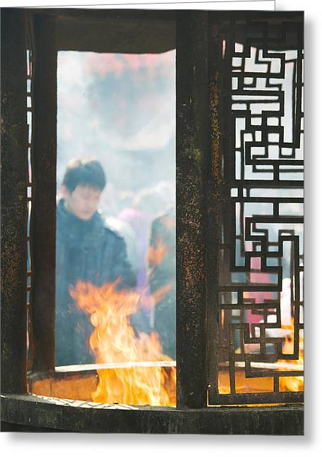 Incense Greeting Cards - Prayer Offerings And Incense Greeting Card by Panoramic Images
