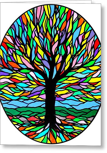 Tree Roots Paintings Greeting Cards - Prayer Tree Greeting Card by Jim Harris