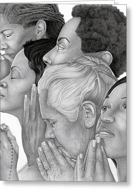 African-american Drawings Greeting Cards - Prayer Warriors Greeting Card by Ron Watson