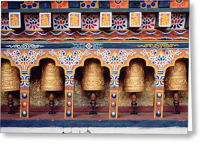 In-city Greeting Cards - Prayer Wheels In A Temple, Chimi Greeting Card by Panoramic Images