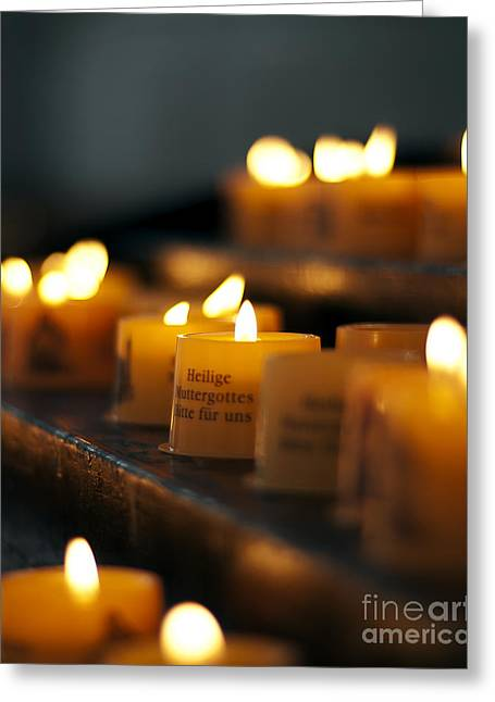 Votive Candles Greeting Cards - Prayers and Hope Greeting Card by Ivy Ho