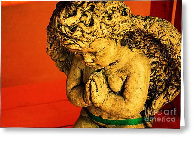 Praying Hands Photographs Greeting Cards - Praying Angel Greeting Card by Susanne Van Hulst