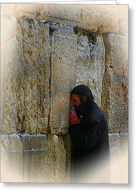 Old Western Photos Mixed Media Greeting Cards - Praying At The Western Wall Greeting Card by Michael Braham