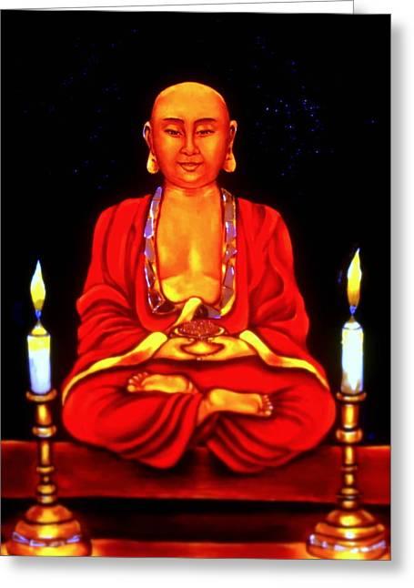 Religious Artwork Mixed Media Greeting Cards - Praying Buddha Greeting Card by Carmen Cordova