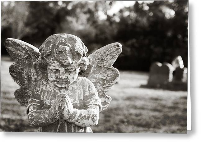 Praying Hands Greeting Cards - Praying Cemetery Angel Greeting Card by Angela Bonilla