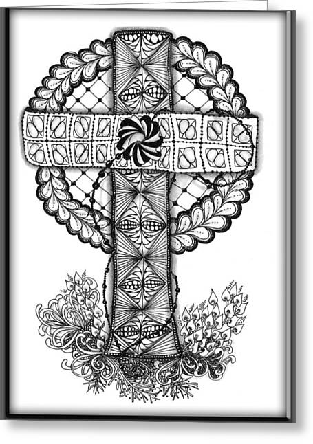 Rosary Drawings Greeting Cards - Praying for Haiti Greeting Card by Cris Letourneau
