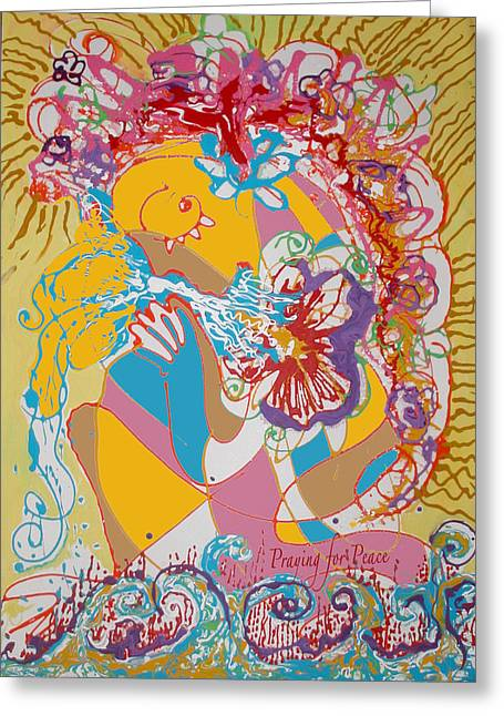 Anne Cameron Cutri Greeting Cards - Praying for Peace Greeting Card by Anne Cameron Cutri