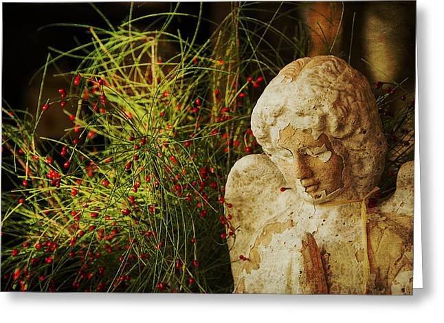 Seraphim Angel Photographs Greeting Cards - Praying for Peace Greeting Card by Terry Rowe