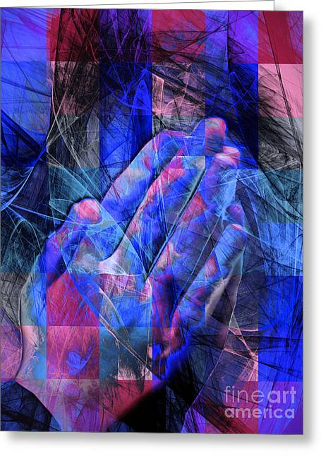 Praying Hands Greeting Cards - Praying Hands 20150302v2 color squares coollb Greeting Card by Wingsdomain Art and Photography