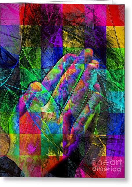 Bible Digital Art Greeting Cards - Praying Hands 20150302v2 color squares Greeting Card by Wingsdomain Art and Photography
