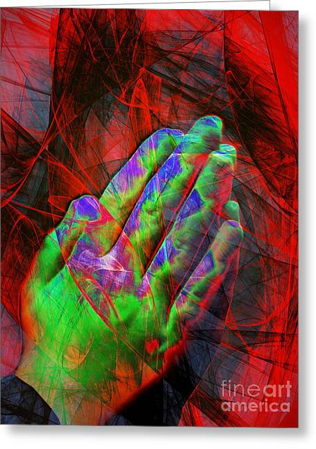 Bible Digital Art Greeting Cards - Praying Hands 20150302v2 Greeting Card by Wingsdomain Art and Photography
