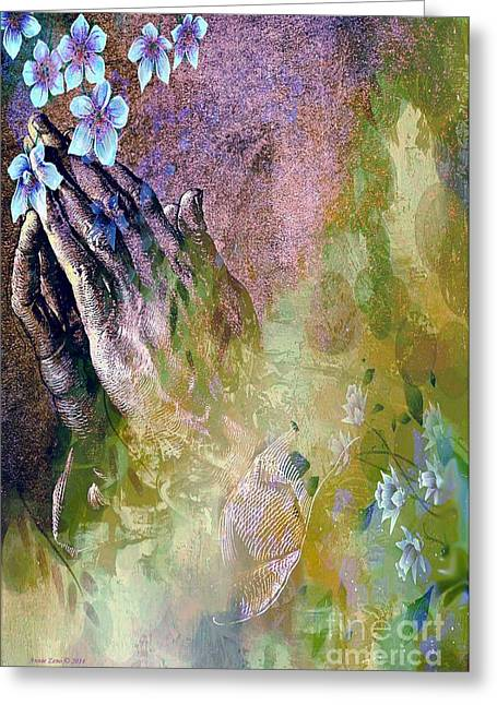 Praying Hands Greeting Cards - Praying Hands And Flowers Greeting Card by Annie Zeno