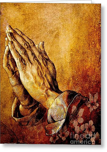 Praying Hands Greeting Cards - Praying Hands Greeting Card by Annie Zeno