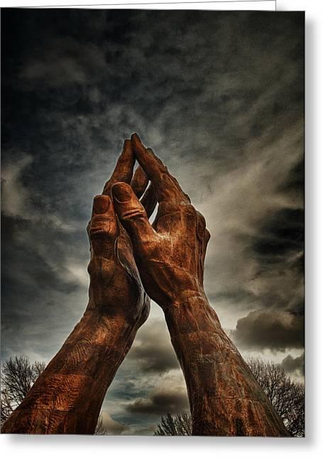 Praying Hands Greeting Cards - Praying Hands At Oru  Greeting Card by Tim Hayes