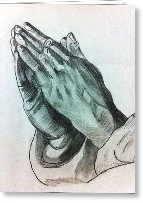 Praying Hands Drawings Greeting Cards - Praying Hands Greeting Card by Divya Engarsal