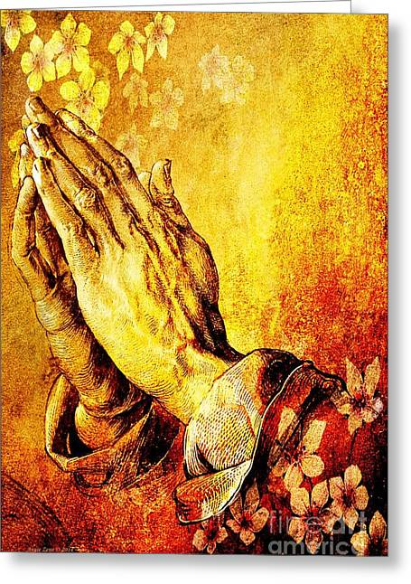 Praying Hands Greeting Cards - Praying Hands With Flowers Greeting Card by Annie Zeno
