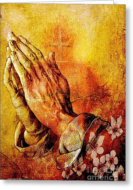 Praying Hands Greeting Cards - Praying Hands With Sacred Heart Greeting Card by Annie Zeno