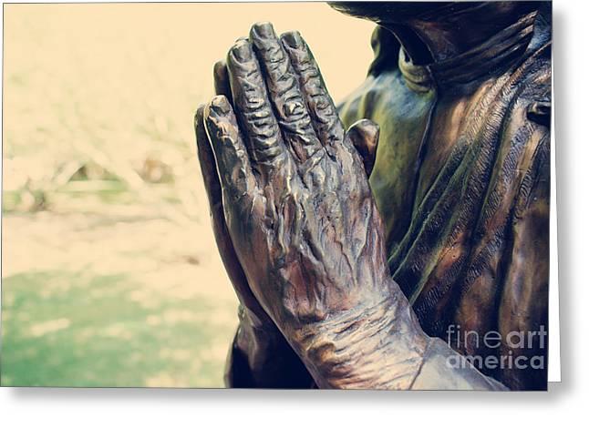 Praying Hands Greeting Cards - Praying Hands Greeting Card by Yuliana Giron
