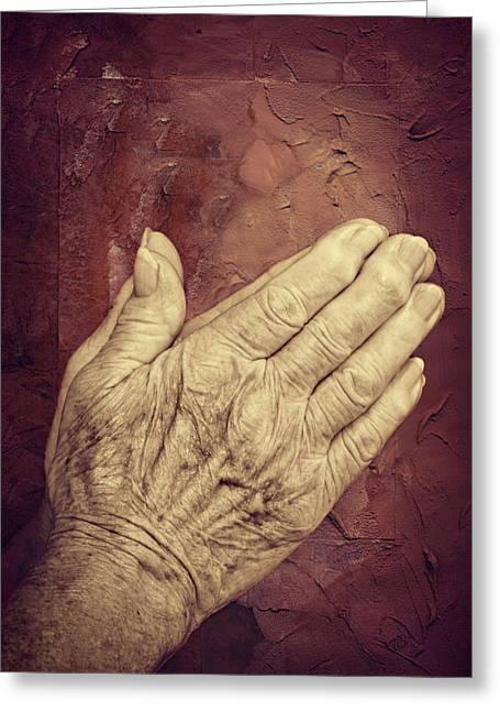 Praying Hands Greeting Cards - Praying Greeting Card by Heike Hultsch