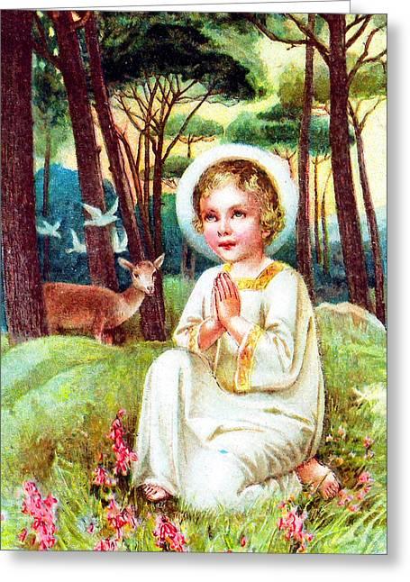 Jesus work Digital Greeting Cards - Praying in the Forest Greeting Card by Munir Alawi