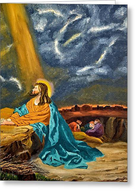Christ Gethsemane Greeting Cards - Praying In The Garden Greeting Card by Image Takers Photography LLC - John W Morgan