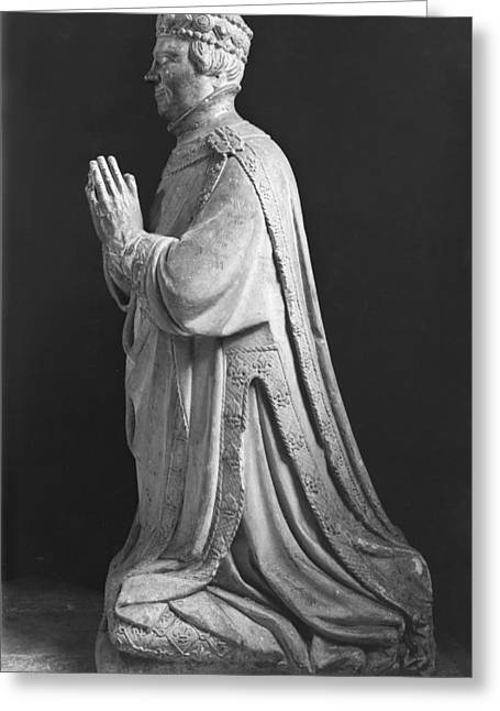 Piety Greeting Cards - Praying Kneeling Figure Of Duc Jean De Berry 1340-1416 Count Of Poitiers, 15th-18th Century Stone Greeting Card by French School