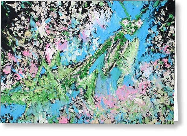 Antenna Paintings Greeting Cards - PRAYING MANTIS in the FLOWERS - oil painting Greeting Card by Fabrizio Cassetta