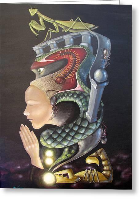 Empowerment Greeting Cards - Praying Mantis Greeting Card by Kevin Escobar