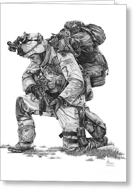 Iraq Drawings Greeting Cards - Praying  Soldier  Greeting Card by Murphy Elliott